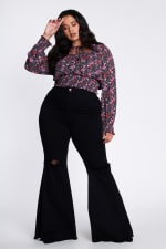 Plus Size Distressed Flare Jeans - Black - Front