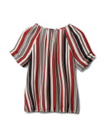 Multi Stripe Bubble Hem Blouse - Offwhite/Black/Rust - Back