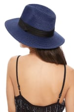 Pre-Order Spring/Summer Women's Wide Brim Hat - Blue - Back