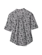 Elbow Palm Print Knit Popover-Petite - White-Black - Back