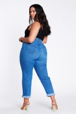 Plus Size Mom Jeans - Medium stone - Back