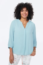 PRE ORDER NYDJ 3/4 Sleeve Pintuck Blouse - BLUE DAISY - Front