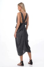 Iluh Kaftan - Charcoal - Back