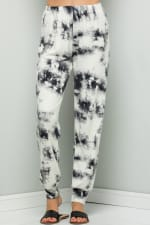 Casual Tie Dye Pants - Ivory - Detail