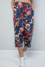 Floral Wide-Leg Cropped Pants - Denim - Detail