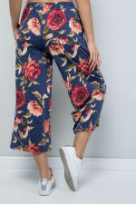 Floral Wide-Leg Cropped Pants - Denim - Back