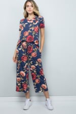 Floral Wide-Leg Cropped Pants - Denim - Front
