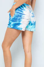 Vibrant Tie Dye Print Shorts - Blue - Back