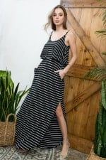 Striped Maxi Dress - Black / Ivory - Detail