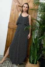Striped Maxi Dress - Black / Ivory - Front