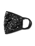 Silver Foil Hearts Fashion Mask - Black - Detail
