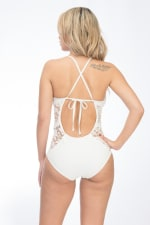 One Piece Sexy Lace Swimsuit - White - Back