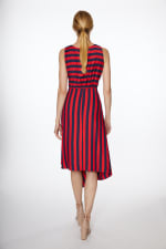 PRE ORDER Asymmetrical Stripe Drawstring Dress - Navy/Red - Back