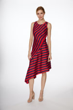 PRE ORDER Asymmetrical Stripe Drawstring Dress - Navy/Red - Front