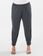 Jogger Knit Pant With Camouflage Trim - Plus - Charcoal - Front