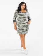 Camouflage Knit Dress - Plus - Charcoal - Front