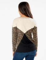 Mixed Animal Thermal Print Knit Top - Misses - Oatmeal - Back