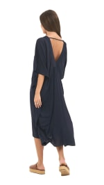 Pre-Order Strand Tunic Dress - Navy - Back