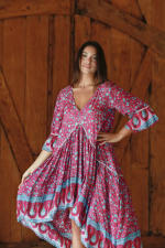 Pre-Order Paisley Bell Sleeve Babydoll - Pink-Teal - Front
