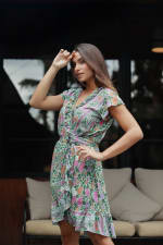 Pre-Order Botanical Wrap Dress - Green-Floral - Back