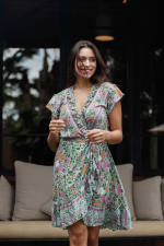 Pre-Order Botanical Wrap Dress - Green-Floral - Front