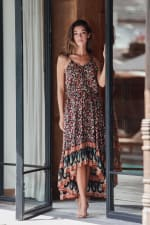 Pre-Order Thin Strap Maxi Dress - Brown - Front