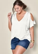 Pre-Order Cold Shoulder Basic V Neck Tee - Plus - White - Back