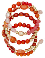 4 Row Multi Bead Coil Bracelet - Coral - Back