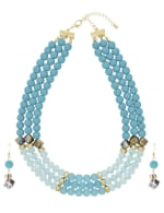 3 Row Multi Beaded Set - Turquoise - Front