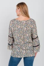 Pre-Order Floral Border Peasant Blouse - Plus - Lapis - Back