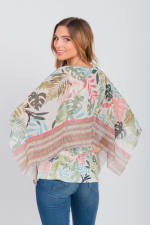 Pre-Order Palm Party Poncho Top - Misses - Green - Back