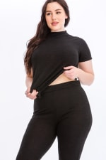 Pre-Order Tie Top And Split Bell Pant Lounge Set - Black - Detail