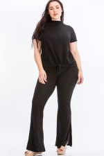 Pre-Order Tie Top And Split Bell Pant Lounge Set - Black - Front