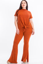 Pre-Order Tie Top And Split Bell Pant Lounge Set - Rust - Front