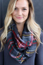 Pre-Order Fun Plaid Print Neck Scarf - Black - Back