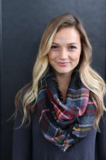 Pre-Order Fun Plaid Print Neck Scarf - Black - Front