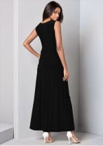 Front Slit Long Tank with Pockets - Black - Back