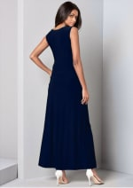 Front Slit Long Tank with Pockets - Navy - Back