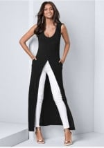 Front Slit Long Tank with Pockets - Black - Front