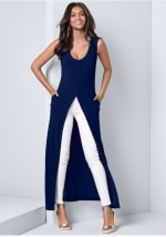 Front Slit Long Tank with Pockets - Navy - Front