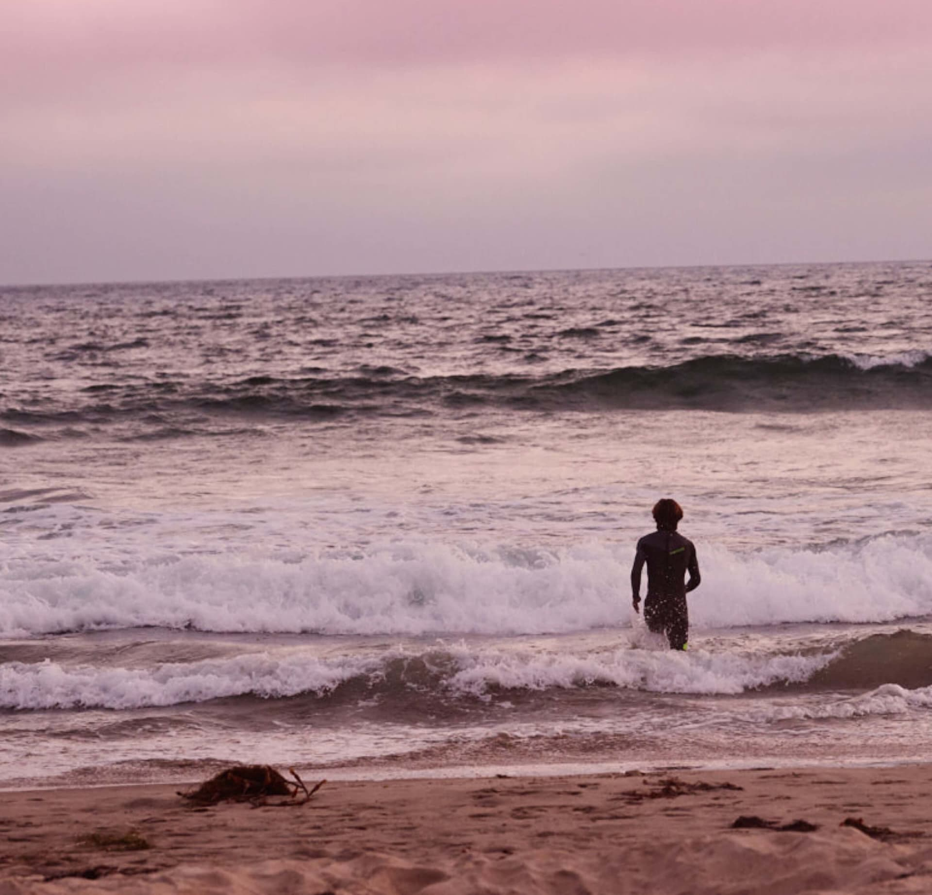 The California shoreline under a pink sunset sky | Kinship