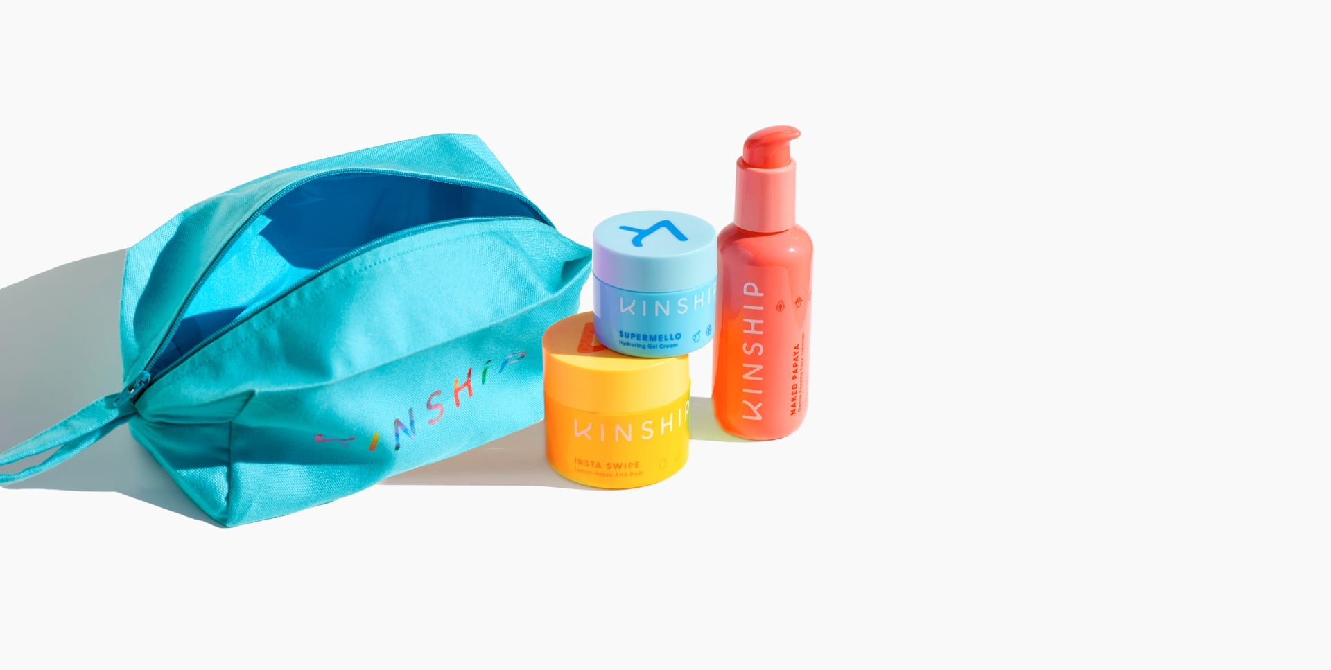 Supermello, Insta Swipe, Naked Papaya and open Dopp Kit | Kinship
