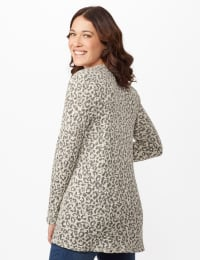 Animal Jacquard Duster - White/Silver - Back