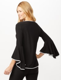 Piped Bell Sleeve Knit Top - Black/White - Back