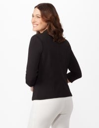 Cinched Sleeve One Button Faux Pocket Notch Collar Topper - Black - Back