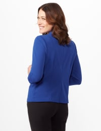 Cinched Sleeve One Button Faux Pocket Notch Collar Topper - Royal - Back