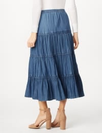 Long Denim Tier Skirt - Denim - Back