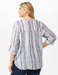 Roll Tab Sleeve Stripe Slub Button Front Woven Top - Tan/Blue - Back
