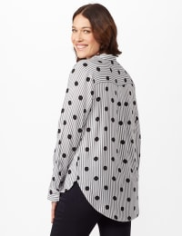 Roll Tab Sleeve Dot Stripe Button Up Shirt - Black/White - Back
