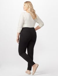 Knit Denim Pull On Jeans - Black - Back